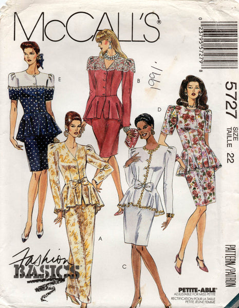 Mccall's 5727 peplum top skirt 90s