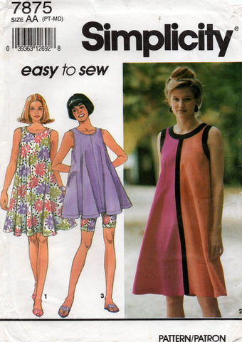 simplicity 7875 90s top and bike pants