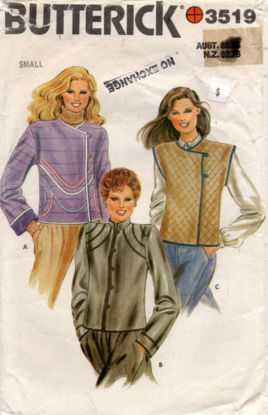 Butterick 3519 Womens  Short Jacket & Vest 1980s Vintage Sewing Pattern Size SMALL 8 - 10