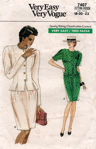 Very Easy Vogue 7407 Womens Princess Top & Skirt 1980s Vintage Sewing Pattern Size 18 - 22