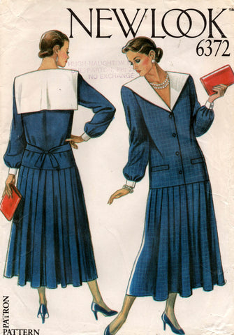 New Look 6372 Womens Drop Waisted Sailor Collar Dress 1980s Vintage Sewing Pattern Size 8 - 18 UNCUT Factory Folds