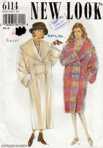 New Look 6114 Womens Wide Collared Overcoat 1980s Vintage Sewing Pattern Sizes S - XL UNCUT Factory Folds
