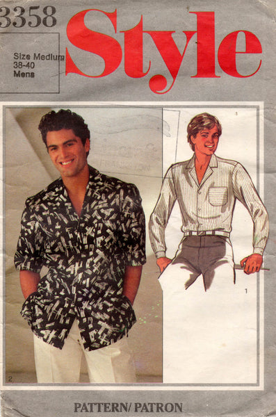 Style 3358 Mens Classic Shirt 1980s Vintage Sewing Pattern Size MEDIUM Chest 38 - 40 inches