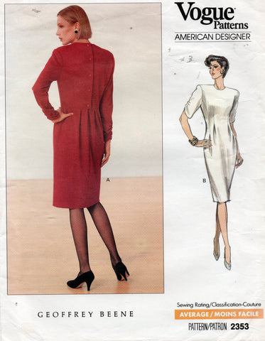 vogue 2353 geoffrey beene 80s dress