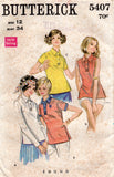 Butterick 5407 Womens Tab Front Shirt 1960s Vintage Sewing Pattern Size 12 Bust 34 Inches