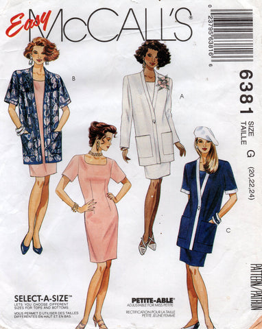 McCall's 6381 dress and jacket 90s