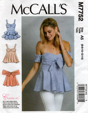 McCall's M7752 Womens Corset Style Peplum Tops Sewing Pattern Sizes 6 - 14 UNCUT Factory Folded