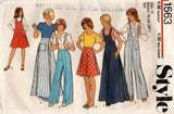 Style 1563 Teen Girls Pinafore Skirt Dungarees & Pants 1970s Vintage Sewing Pattern Size 12  breast 30 Inches