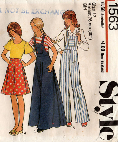 style 1563 teen girls 70s separates