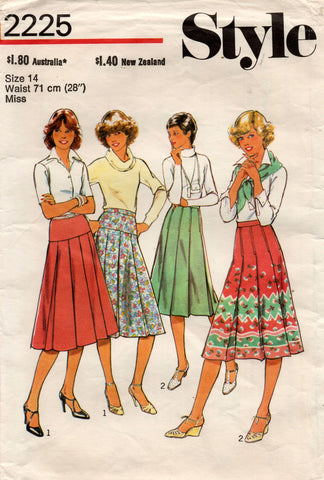 Style 2225 Womens Pleated Yoked Skirts 1970s Vintage Sewing Pattern Size 14 Waist 28 Inches