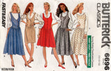 Butterick 6696 Womens Drop Waisted Jumper Pinafore Dress 1980s Vintage Sewing Pattern Size 14 - 18 UNCUT Factory Folds