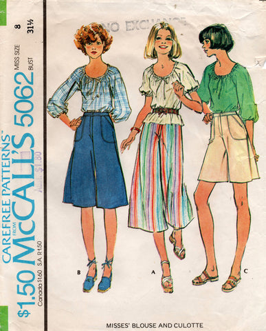 McCall's 5062 70s blouse and culottes