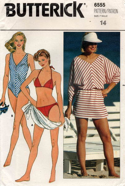 butterick 6555 80s swimwear