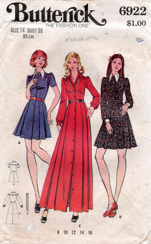 butterick 6922 70s dress