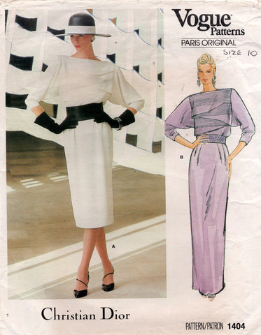 Vogue Paris Original 1404 Womens Christian Dior Tucked Front Evening Dress 1980s Vintage Sewing Pattern Size 10 UNCUT Factory Folded