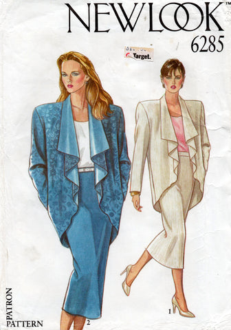 New Look 6285 Womens Draped Cocoon Jacket & Pencil Skirt with Godet 1980s Vintage Sewing Pattern Sizes 8 - 12