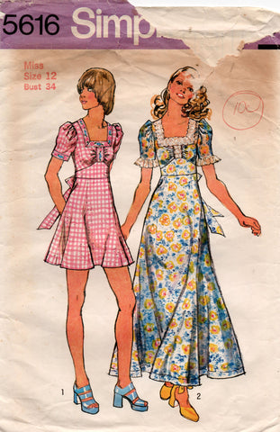 Simplicity 5616 Womens Empire Waisted Sundress or Maxi 1970s Vintage Sewing Pattern Size 12 Bust 34 Inches