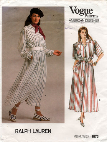 Vogue American Designer 1873 RALPH LAUREN Womens Loose Fitting Shirtdress 1980s Vintage Sewing pattern Size 12 UNCUT Factory Folded