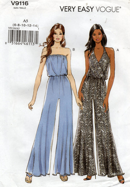 Vogue V9116 Womens Stretch Strapless or Halter Wide Leg Jumpsuit Sewing Pattern Sizes 6 - 14 UNCUT Factory Folded