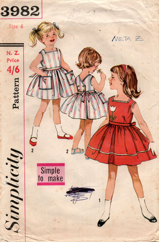 simplicity 3982 60s toddler dress
