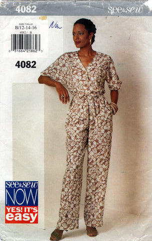 Butterick See & Sew 4082 Womens EASY Top & Pants 1990s Vintage Sewing Pattern Size 12 - 16 UNCUT