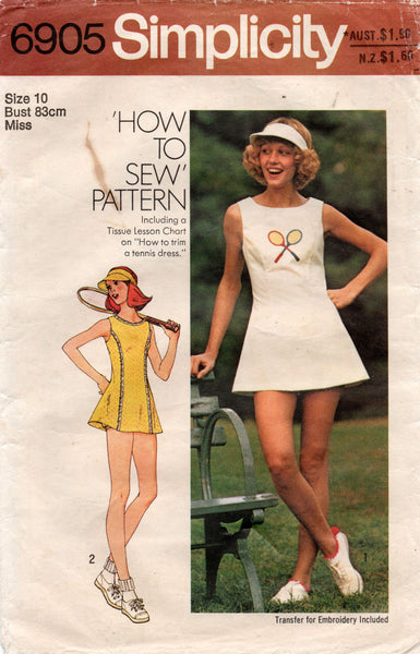 Simplicity 6905 Womens Tennis Dress Visor & Panties with Embroidery Transfer 1970s Vintage Sewing Pattern Size 10