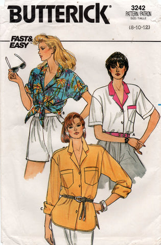 butterick 3242 80s shirts