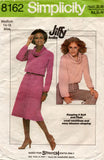Simplicity 8162 Womens JIFFY Stretch Cowl Neck Top & Skirt 1970s Vintage sewing Pattern Size SMALL or MEDIUM