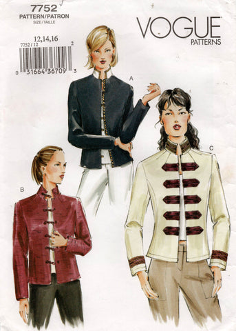 Vogue 7752 Womens Military / Asian Inpired Jacket OOP Sewing Pattern Size 12 - 16 UNCUT Factory Folds