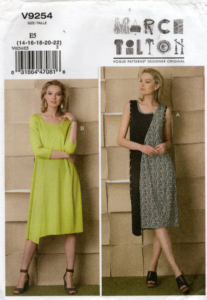 Vogue Designer Original V9254 MARCY TILTON Womens  Asymmetric Pullover Stretch Dress Sewing Pattern Size 14 - 22 UNCUT Factory Folded