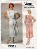Vogue American Designer 1544 KASPER Womens Pleated Dress 1980s Vintage Sewing Pattern Size 10 or 12 UNCUT Factory Folds