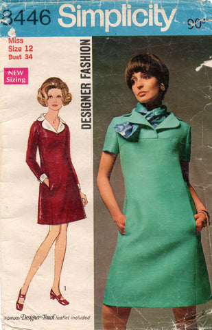 Simplicity 8446 Designer Womens Dress with Yoke Scarf and Pockets 1970s Vintage Sewing Pattern Size 12 Bust 34 inches