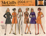McCall's 2004 Womens Braid Trimmed Caftan Dress 1960s Vintage Sewing Pattern Size 12 Bust 34 inches