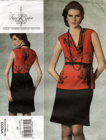 vogue V1203 tracy reese top and skirt oop