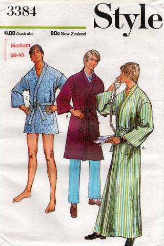 Style 3384 Mens Sleepwear Robe in 3 Lengths 1970s Vintage Sewing Pattern Size Medium Chest 38 - 40 Inches UNCUT Factory Folded