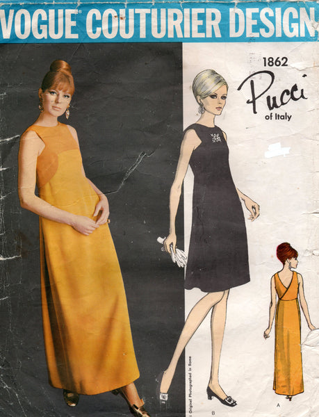 Vogue Couturier Design 1862 PUCCI Womens High Waisted Back Wrap Dress or Evening Gown 1960s Vintage Sewing Pattern Size 12 Bust 34 inches