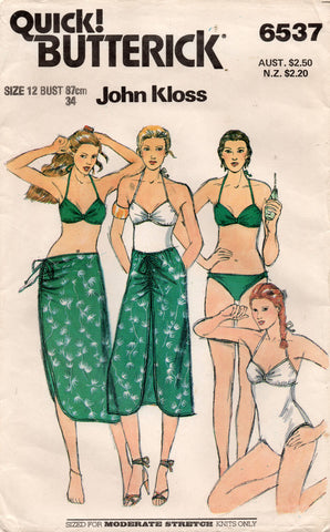 butterick 6537 80s swimsuit and skirt