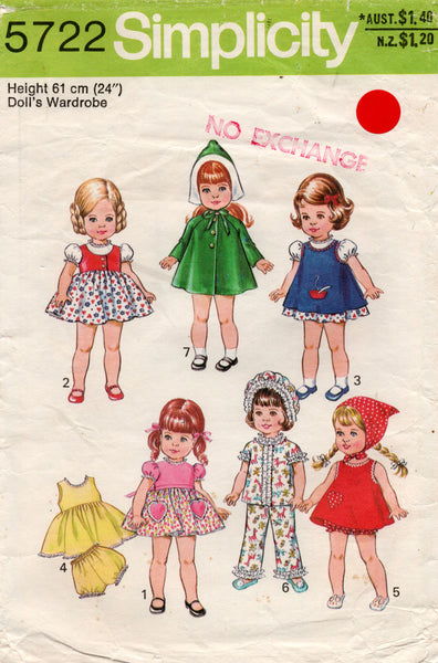 simplicity 5722 70s doll clothes