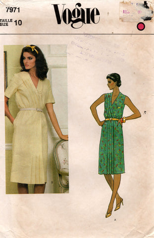 Vogue 7971 Womens Side Tucked Wrap Dress 1980s Vintage Sewing Pattern Size 10 Bust 32 1/2 inches