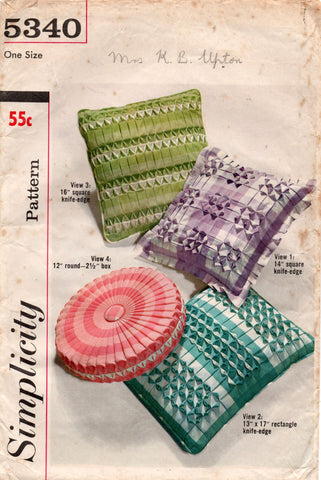 simplicity 5340 60s pillow covers