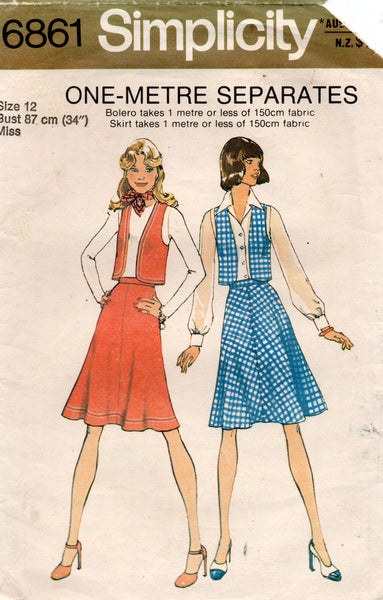simplicity 6861 70s top and skirt