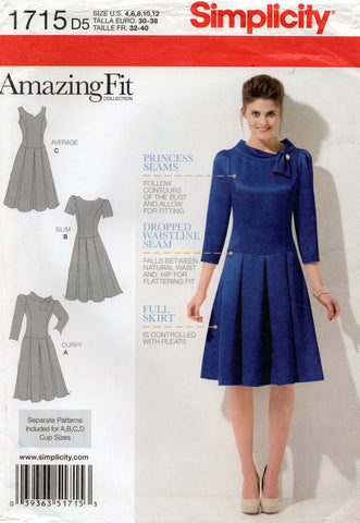 simplicity 1715 oop drop waist dress