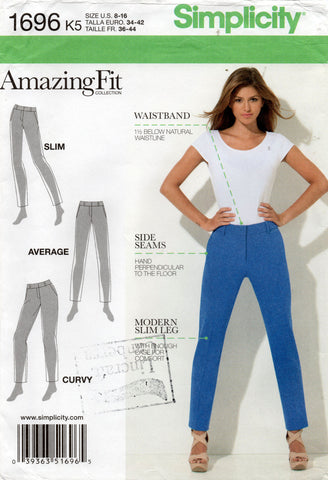 simplicity 1696 perfect fit pants oop