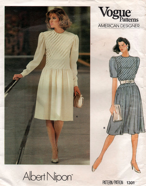 Vogue American Designer 1301 ALBERT NIPON Womens Puff Sleeved Drop Waisted Dress with Tucks 1980s Vintage Sewing Pattern Size 10 Bust 32 1/2 Inches