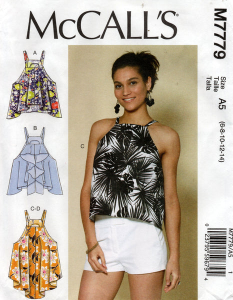 McCall's M7779 Womens Flounced Summer Tops OOP Sewing Pattern Sizes 6 - 14 UNCUT Factory Folded