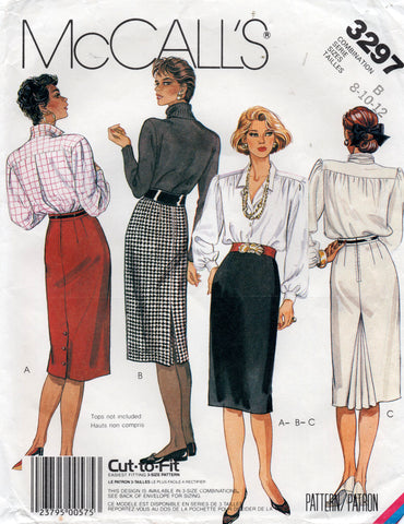 McCall's 3297 Womens Slim Skirts with Variations 1980s Vintage Sewing Pattern Size 8 - 12