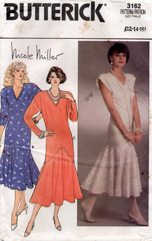 butterick 3162 nicole miller 80s dress