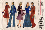 Style 1363 Womens Wide Lapel Jacket Flares & Skirt 1970s Vintage Sewing Pattern Size 12 Bust 34 inches