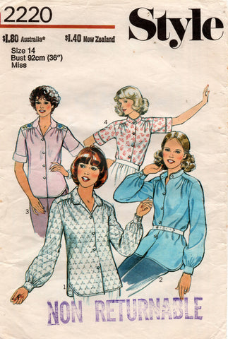 Style 2220 Womens Gathered Shoulder Shirts 1970s Vintage Sewing Pattern Size 14 Bust 36 inches