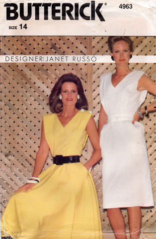 butterick 4963 janet russo 80s dress